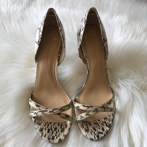 Aerin Cocobay Snake Print Leather Heels Shoes